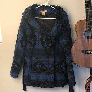 Aztec Print Lined Coat with Tie